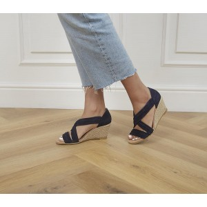 Office Maiden Cross Strap Wedges Navy Suede - Mid Heels for Women On Line KG20V4781