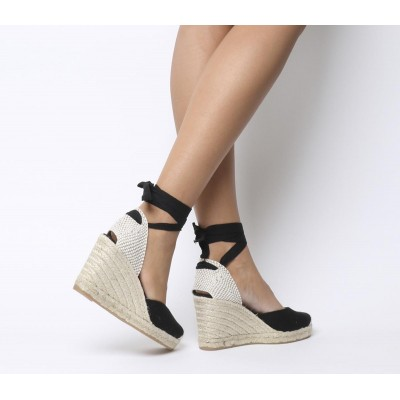 Office Marmalade Espadrille Wedges Black Canvas - Mid Heels for Women in new look 2C0PK3098