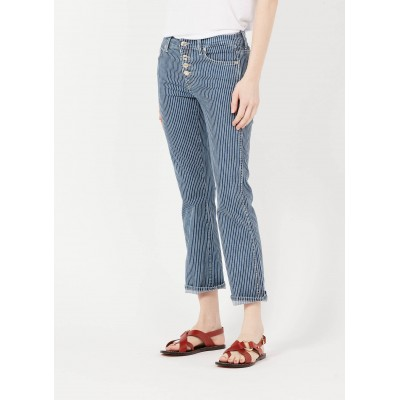 7 FOR ALL MANKIND Women's ANKLE BOOT - Blue Boot-cut striped jeans Fit DVVJ286