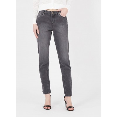 IKKS Women's Grey Straight cropped jeans Casual KAZL532