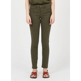 ONE STEP Women's Khaki Embroidered high-waisted slim-fit jeans UKAI742