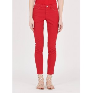 ONE STEP Women's Red High-rise slim-fit 7/8 jeans Popular JKIE951
